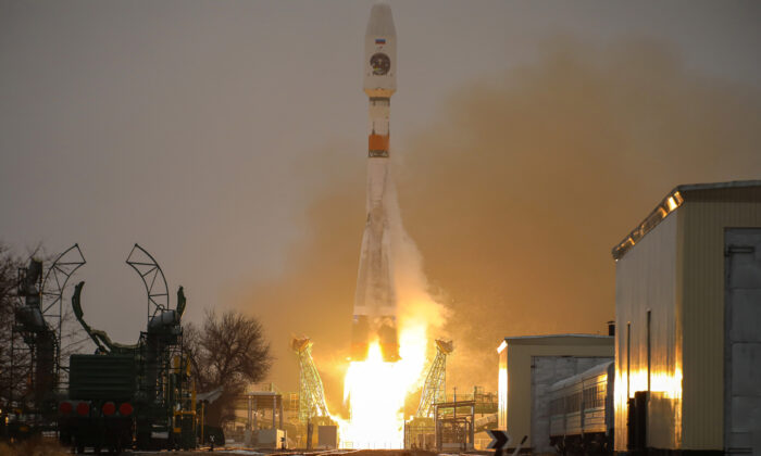 The Soyuz spacecraft with the Arktika-M satellite for monitoring the climate and environment in the Arctic, blasts off from the launchpad at the Baikonur Cosmodrome, Kazakhstan, on Feb. 28, 2021. (Russian space agency Roscosmos/Handout via Reuters)