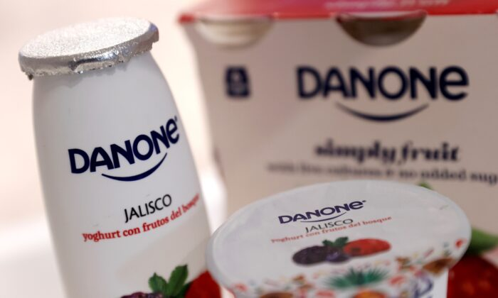 Danone products displayed before the French food group's 2019 annual results presentation in Paris, France, on Feb. 26, 2020. (Christian Hartmann/Reuters, File Photo)