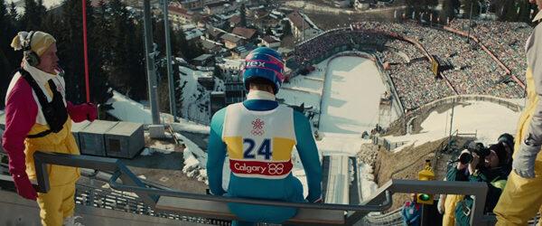 "man on Olympic ski ramp in ""Eddie the Eagle"""
