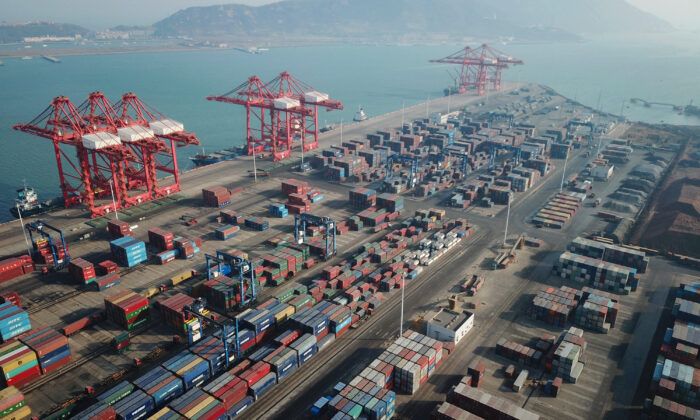 This aerial photo shows shipping containers stacked at a port in Lianyungang, in China's Jiangsu Province, on Jan. 14, 2021. (STR/AFP via Getty Images)