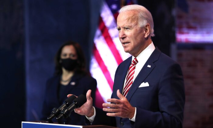 President Joe Biden delivers remarks about the U.S. economy during a press briefing at the Queen Theater in Wilmington, Del., on Nov. 16, 2020. (Joe Raedle/Getty Images)