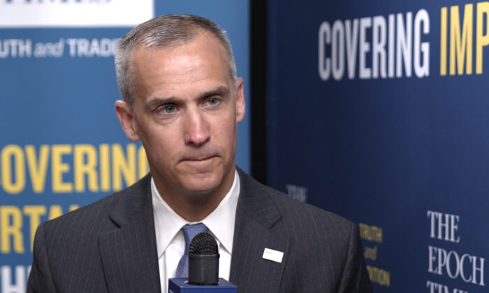 Former Trump campaign manager Corey Lewandowski during an interview with The Epoch Times at CPAC 2021 in Orlando, Fla.