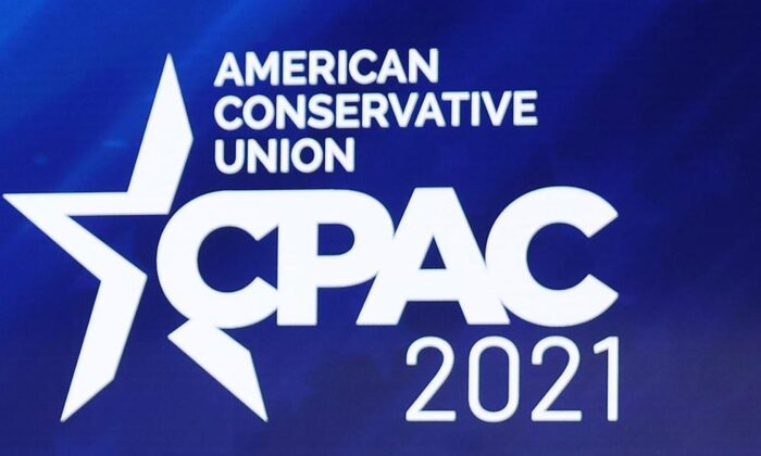 The Conservative Political Action Conference logo at the Hyatt Regency in Orlando, Fla., on Feb. 26, 2021. (Joe Raedle/Getty Images)