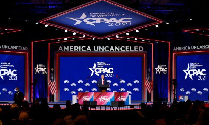 Former U.S. President Donald Trump speaks at the Conservative Political Action Conference in Orlando, Florida, U.S. Feb. 28, 2021. (Reuters/Joe Skipper)