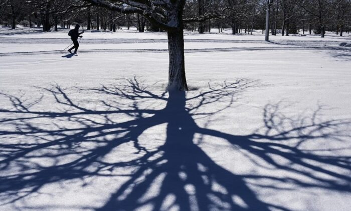 A cross-country skier glides along the banks of the Ottawa River in Ottawa on Feb. 25, 2021. Canadians across the country can look forward to a mild spring peppered with the odd winter flashback throughout the first part of the season, according to predictions from one prominent national forecaster. (Sean Kilpatrick/The Canadian Press)
