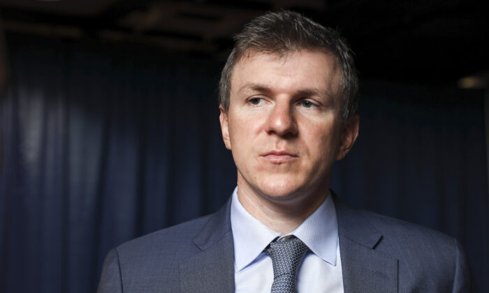 James O'Keefe, the founder of Project Veritas, is seen in Washington on Oct. 12, 2019. (Samira Bouaou/The Epoch Times)