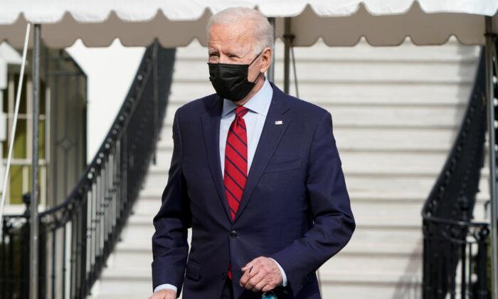 President Joe Biden speaks to the media as he departs for Wilmington, Delaware, from White House in Washington, on Feb. 27, 2021. (Joshua Roberts/Reuters)