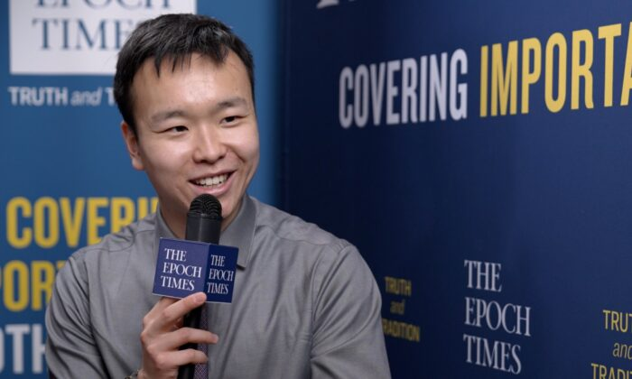 Author Kenny Xu speaks to The Epoch Times at CPAC in Orlando, Fla., on Feb. 27, 2021. (The Epoch Times)