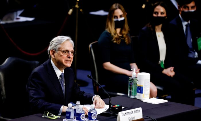 Judge Merrick Garland delivers an opening statement as he testifies before a Senate Judiciary Committee hearing on his nomination to be Attorney General on Capitol Hill in Washington, on Feb. 22, 2021. (Carlos Barria/Reuters)