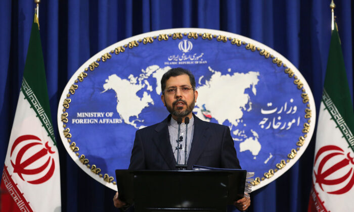 Iranian foreign ministry spokesman Saeed Khatibzadeh during a press conference in Tehran, Iran, on Feb. 22, 2021. (Atta Kenare/AFP via Getty Images)