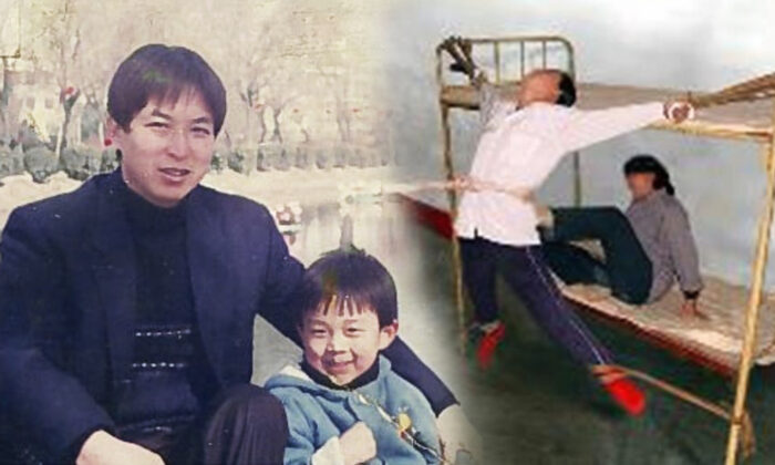 L: Ye Jiawith his toddler sonEric (Courtesy ofEric Jia), R:Torture reenactment (Minghui.org)
