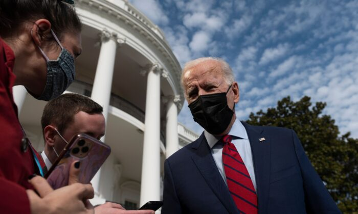 President Joe Biden speaks to reporters as he departs from the White House on Feb. 27, 2021. (Andrew Caballero-Reynolds/AFP via Getty Images)