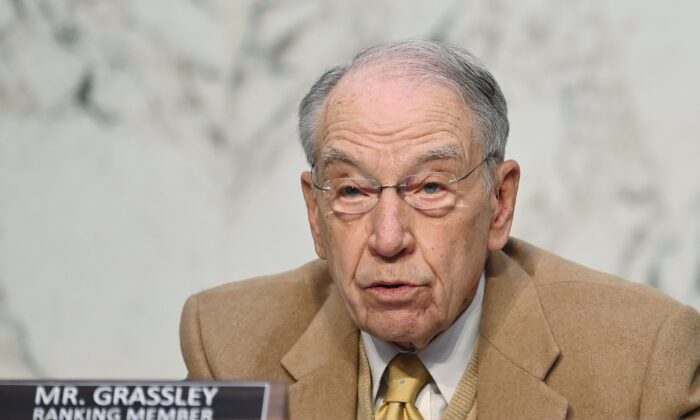 Ranking Member Chuck Grassley, (R-Iowa), speaks as FBI Director Christopher Wray testifies before the Senate Judiciary Committee on the Jan. 6 breach of the Capitol, in the Hart Senate Office Building on Capitol Hill in Washington on March 2, 2021. (Mandel Ngan/POOL/AFP via Getty Images)