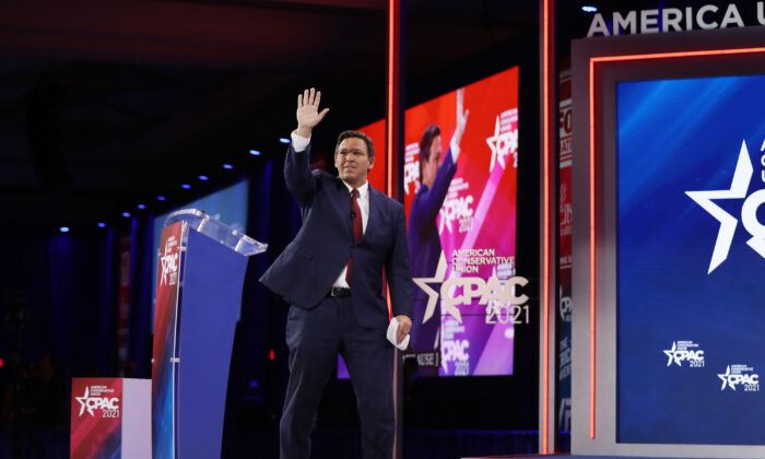 Florida Gov. Ron DeSantis speaks at the opening of the Conservative Political Action Conference at the Hyatt Regency in Orlando, Fla., on Feb. 26, 2021. (Joe Raedle/Getty Images)