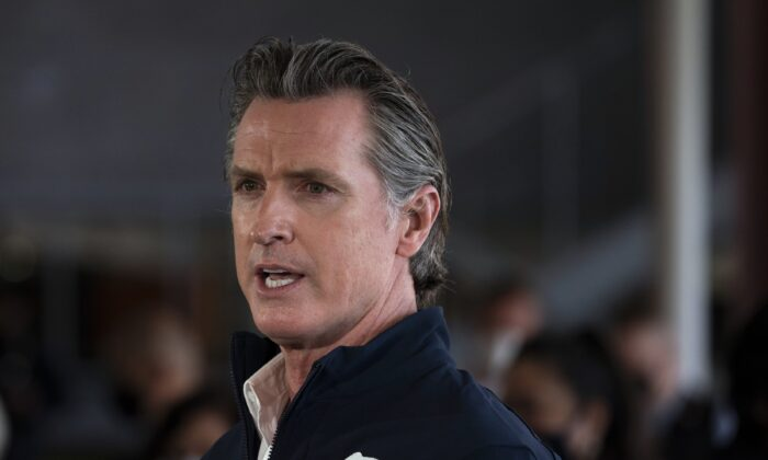 California Gov. Gavin Newsom speaks during a news conference on the campus of California State University-Los Angeles on Feb. 16, 2021. (Jae C. Hong/AP Photo)