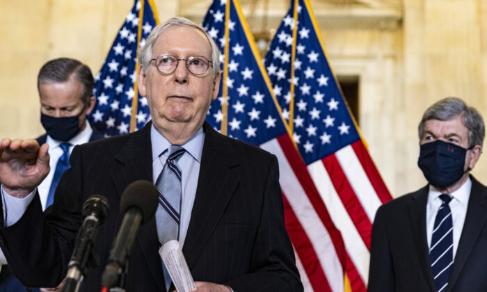 Senate Minority Leader Mitch McConnell (R-KY) speaks to the media after the Republican leaders' weekly lunch at the U.S. Capitol in Washington on March 23, 2021. (Tasos Katopodis/Getty Images)