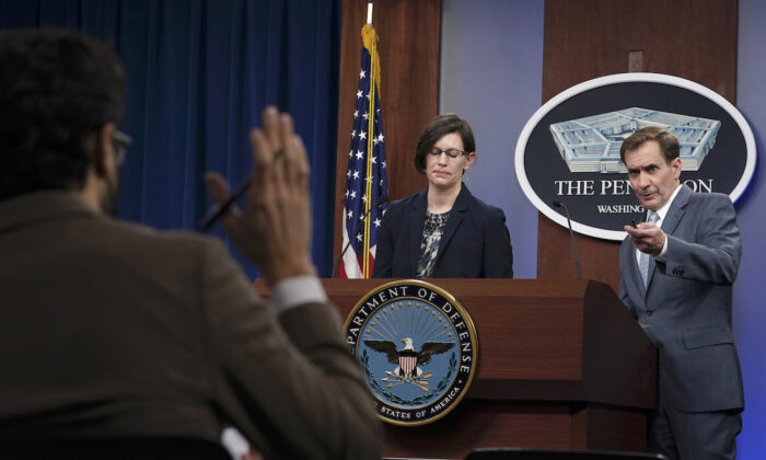 Stephanie Miller, head of accession policy at the Pentagon (C) and Pentagon spokesman John Kirby (R) speak during a briefing at the Pentagon in Washington on March 31, 2021. (Susan Walsh/AP Photo)