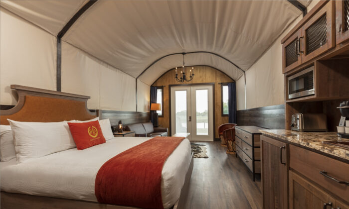 Inside a new luxury Conestoga wagon at Westgate River Ranch. (Courtesy of Westgate River Ranch)