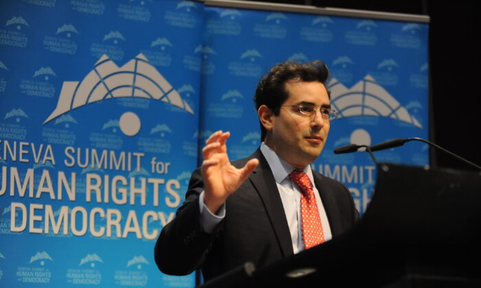 Hillel Neuer, executive director of UN Watch, speaks at the 2015 Geneva Summit for Human Rights and Democracy in Switzerland on Feb. 24, 2015. (Courtesy Hillel Neuer)