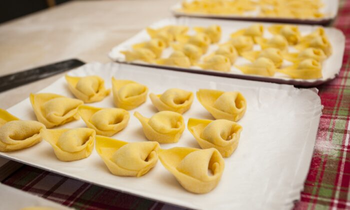 Tortellini, a specialty of Bologna, Italy. (Channaly Philipp/The Epoch Times)