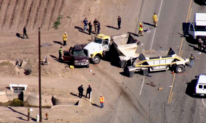 An SUV packed with people and a semitruck slam into each other near the Mexican border, in Imperial County, Calif., on March 2, 2021. (Courtesy of KCAL/KCBS)