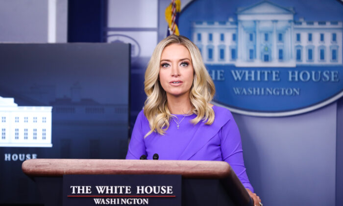 White House Press Secretary Kayleigh McEnany during a press briefing in the White House in Washington on Dec. 15, 2020. (Charlotte Cuthbertson/The Epoch Times)