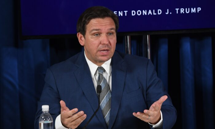 Florida Gov. Ron DeSantis speaks during a COVID-19 and storm preparedness roundtable in Belleair, Fla., on July 31, 2020. (Saul Loeb/AFP via Getty Images)