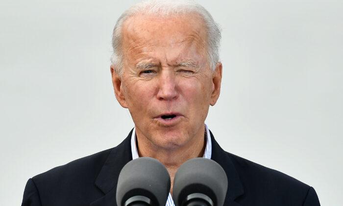 President Joe Biden speaks at NRG Stadium in Houston, Texas, on Feb. 26, 2021. (Mandel Ngan/AFP via Getty Images)
