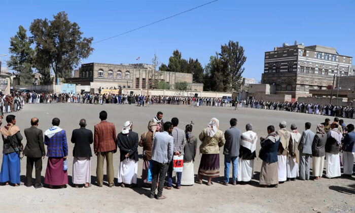 Yemeni tribesmen gather in a square during a Houthi organized event in the Dhamar governorate, Yemen, on Feb. 22, 2021. (AFP via Getty Images)