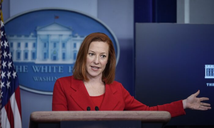 White House Press Secretary Jen Psaki speaks during the daily press briefing at the White House in Washington on Mar. 2, 2021. (Drew Angerer/Getty Images)