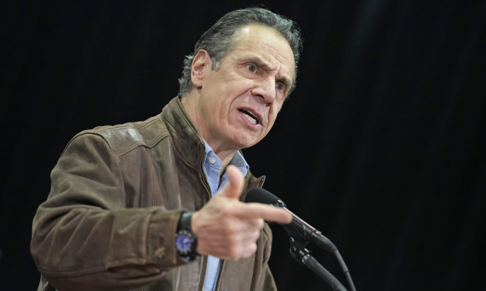 New York Gov. Andrew Cuomo speaks during a press conference before the opening of a mass COVID-19 vaccination site in the Queens borough of New York on Feb. 24, 2021. (Seth Wenig/POOL/AFP via Getty Images)