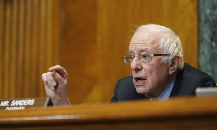 Senate Budget Committee Chairman Sen. Bernie Sanders, I-Vt. speaks during a hearing on Capitol Hill examining wages at large profitable corporations February 25, 2021 in Washington. (Susan Walsh-Pool/Getty Images)