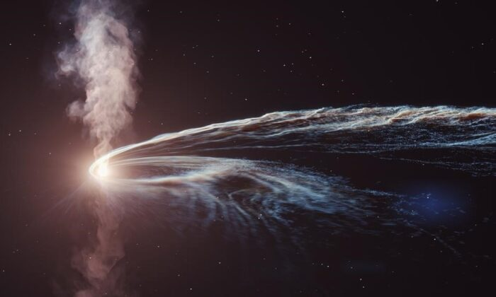 An illustration of a tidal disruption event, in which a star is shredded and swallowed by a supermassive black hole, which launches a tremendous amount of energy in a plasma jet-like outflow. (DESY, Science Communication Lab)