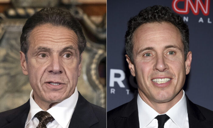 New York Gov. Andrew Cuomo, left, appears during a news conference on Dec. 3, 2020. On right, CNN host Chris Cuomo is seen at an event on Dec. 9, 2018. (Mike Groll/Office of Governor of Andrew M. Cuomo via AP and Evan Agostini/Invision/AP)