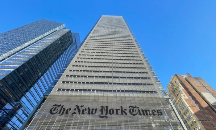 The New York Times Building is seen in New York City on February 4, 2021. (Daniel Slim/AFP via Getty Images)