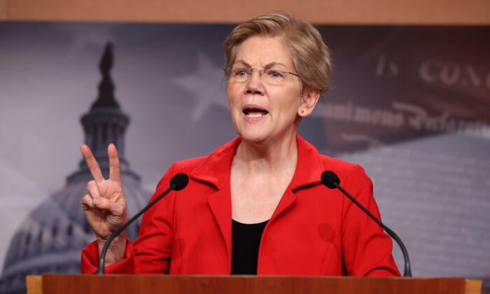 Sen. Elizabeth Warren (D-Mass.) holds a news conference to announce legislation that would tax the net worth of America's wealthiest individuals at the U.S. Capitol in Washington on March 1, 2021. (Chip Somodevilla/Getty Images)