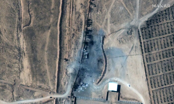 A close up view of destroyed buildings at an Iraq-Syria border crossing after airstrikes are seen on Feb. 26, 2021. (Satellite image (copyright) 2021 Maxar Technologies/Handout via Reuters)