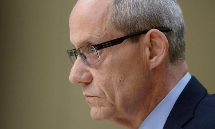 """Canadian Forces ombudsman Gary Walbourne appears at a Senate veterans affairs committee in Ottawa on Wednesday, May 4, 2016. Walbourne has dropped the gloves in what appears to have become a tense battle with National Defence, accusing officials of """"insidious"""" attacks whenever his office releases a report critical of the department. (Sean Kilpatrick/The Canadian Press)"""