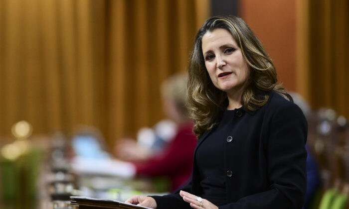 Minister of Finance Chrystia Freeland delivers the 2020 fiscal update in the House of Commons on Parliament Hill in Ottawa, Canada, on Nov. 30, 2020. (Sean Kilpatrick/The Canadian Press)