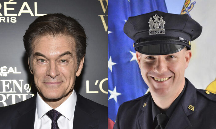 This combination photo shows TV personality Dr. Mehmet Oz (L) at the 14th annual L'Oreal Paris Women of Worth Gala in New York on Dec. 4, 2019, and Port Authority Officer Jeffrey Croissant. (AP Photo/Port Authority of New York & New Jersey via AP)
