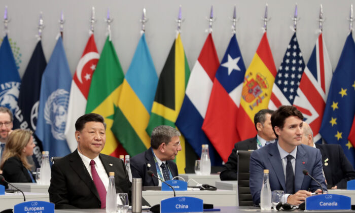 Chinese leader Xi Jinping and Prime Minister Justin Trudeau during the G20 summit in Buenos Aires, Argentina, on Nov. 30, 2018. (Alejandro Pagni/AFP via Getty Images)