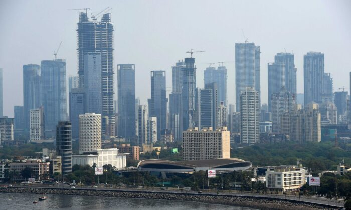 Mumbai's skyline is seen during the first day of a nationwide lockdown to prevent the spread of the Covid-19 coranavirus in India, on March 25, 2020. (Punit Paranjpe/AFP via Getty Images)
