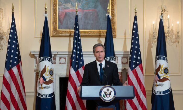 U.S. Secretary of State Antony Blinken delivers remarks about priorities for administration of U.S. President Joe Biden in the Ben Franklin room at the State Department in Washington, on March 3, 2021.  (Andrew Caballero-Reynolds/POOL/AFP via Getty Images)