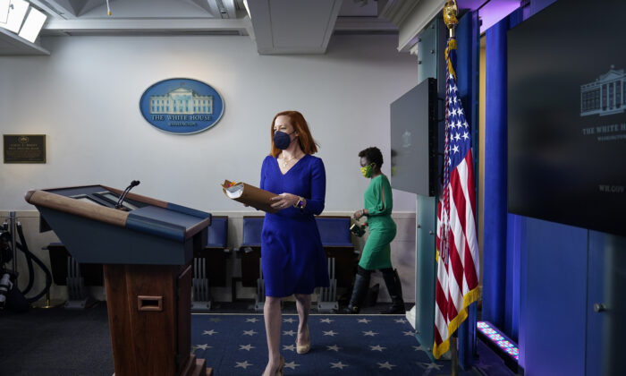 White House Press Secretary Jen Psaki arrives for the daily press briefing at the White House on March 3, 2021. (Drew Angerer/Getty Images)