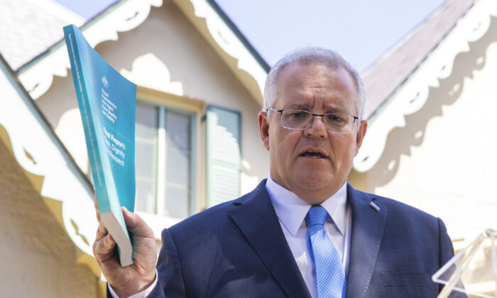 Australian Prime Minister Scott Morrison delivers the Royal Commission Report into Aged Care during a press conference at Kirribilli House in Sydney, Australia on March 1, 2021. (Jenny Evans/Getty Images)