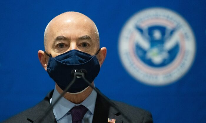 Homeland Security Secretary Alejandro Mayorkas delivers remarks while visiting a FEMA community vaccination center in Philadelphia, Pa., on March 2, 2021. (Mark Makela/Getty Images)