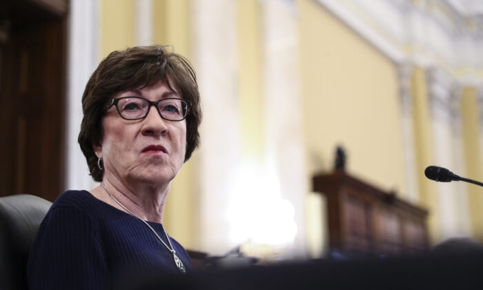 Sen. Susan Collins (R-Maine) listens during a Senate hearing on Capitol Hill, in Washington on Feb. 24, 2021. (Tom Brenner/Pool via AP)
