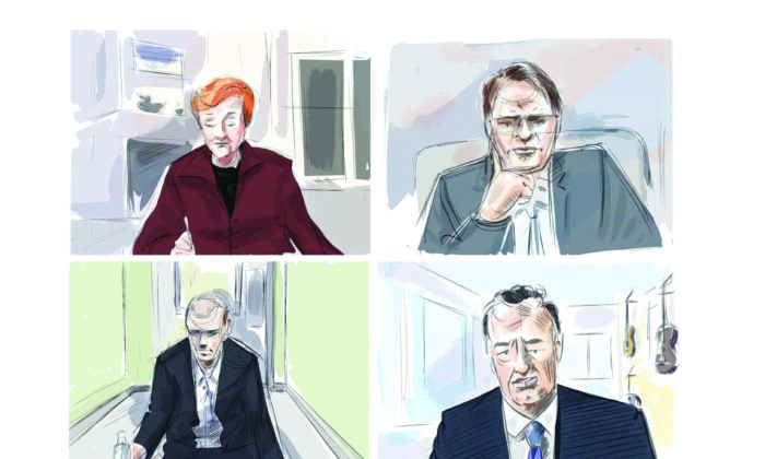 Justice Anne Molloy, from top left, John Rinaldi, Dr. Scott Woodside and accused Alek Minassian are shown during a murder trial conducted via Zoom videoconference in this courtroom sketch on December 11, 2020. (Alexandra Newbould/The Canadian Press)