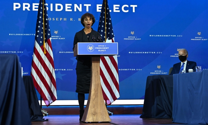 Chair of Council of Economic Advisers nominee Cecilia Rouse speaks after former Vice President Joe Biden announced his economic team at The Queen Theatre in Wilmington, Del., on Dec. 1, 2020. (Chandan Khanna/AFP via Getty Images)