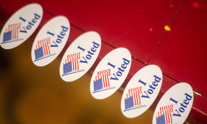 """""""I voted"""" stickers in Austin, Texas, on Nov. 3, 2020. (Montinique Monroe/Getty Images)"""